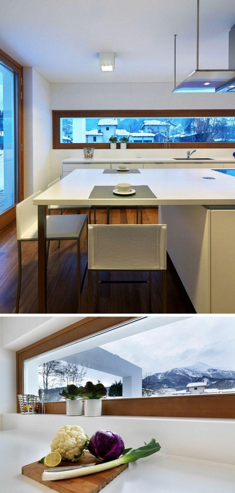 schmale fenster kueche-modern-esstisch-weiss-arbeitsplatte | Home ...