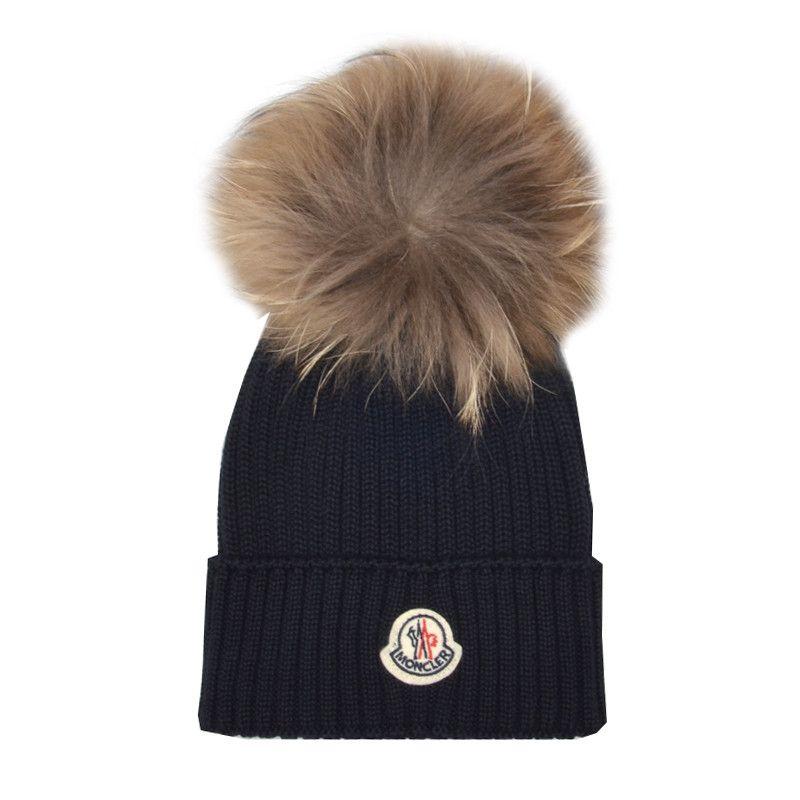 b967ef4550e Kids Cavern - Moncler Navy Contrast Fur Bobble Hat - Armani Junior ...