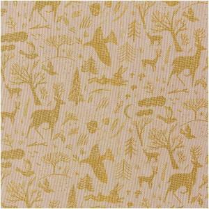 Tissu en coton aspect lin - Forêt d'hiver - Naturel / Doré Métallisé x20cm