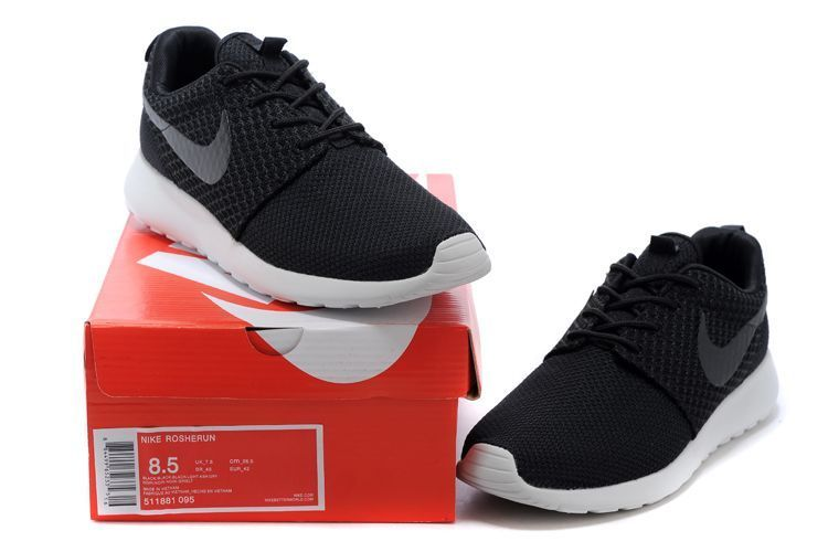 Roshe EmbroideryWomens Nike Roshe Run 511881 095 Black Black White