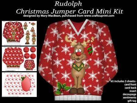 Rudolph Christmas Jumper Card Mini Kit Christmas Jumpers