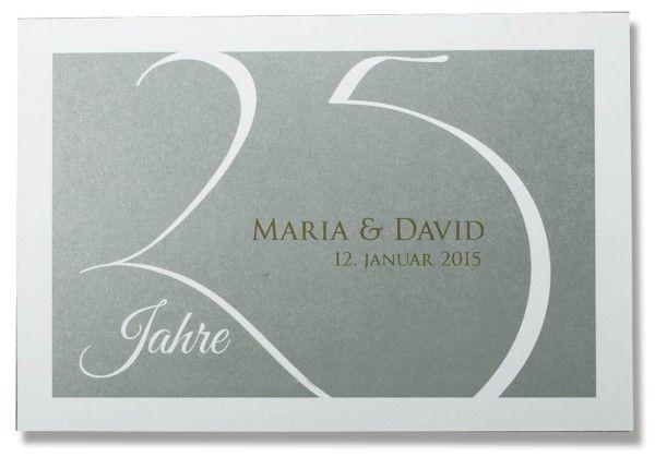 Einladungskarte Zur Silberhochzeit Weisse 25 Silber Hintergrund