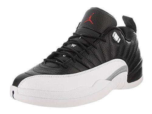 quality design ab2aa ba4d8 Jordan Air 12 Retro Low Men s Shoes Black White Metallic Silver Varsity Red  308317-004 (10.5 D(M) US)