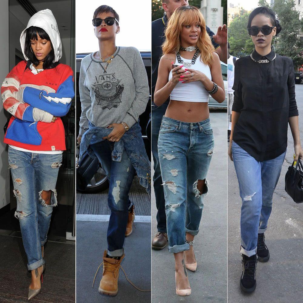 Rihanna wearing distressed boyfriend jeans | Rihanna | Pinterest | Boyfriend jeans Rihanna and ...