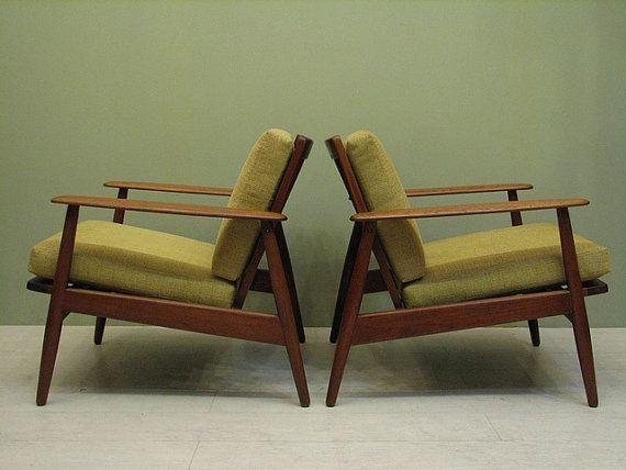 Pair Of Mid Century Danish Modern Teak Chairs From Dejavulongbeach