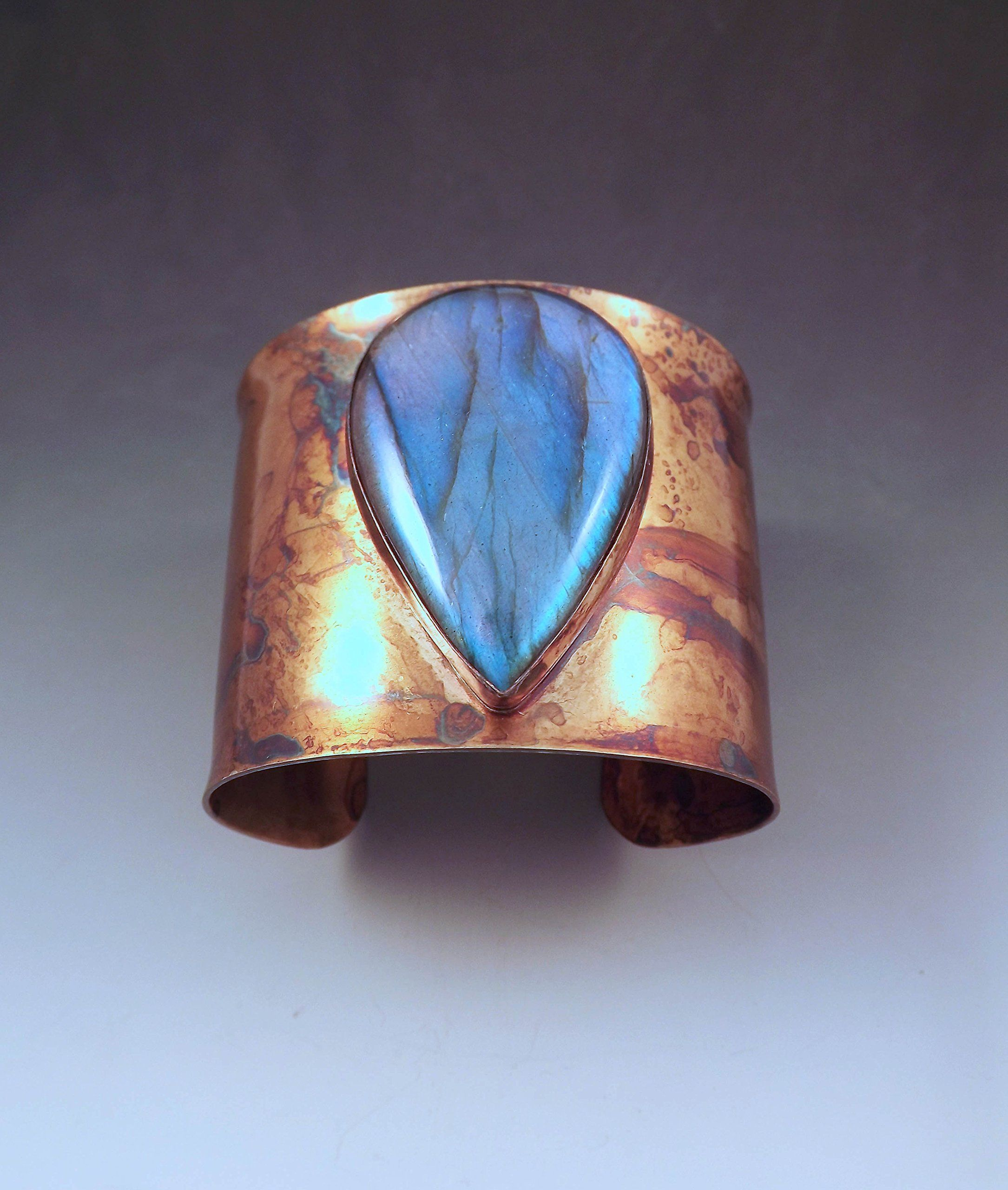 Electric Blue Labradorite Teardrop- Rainbow Swirl Patina- Metal Statement Cuff Bracelet -- Awesome products selected by Anna Churchill