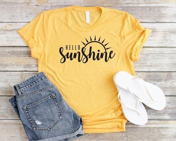 Sun Shirt Hello Sunshine Shirt Unisex Hello Shirt Graphic Tees | Etsy