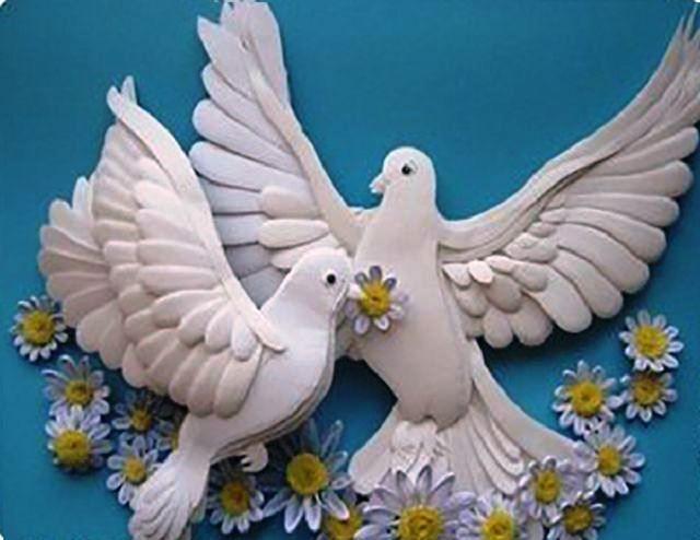 Открытки с бумажными голубями, открытка