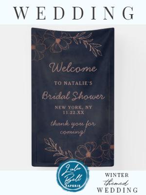Navy Blue  Rose Gold Foil Bridal Shower Welcome Banner