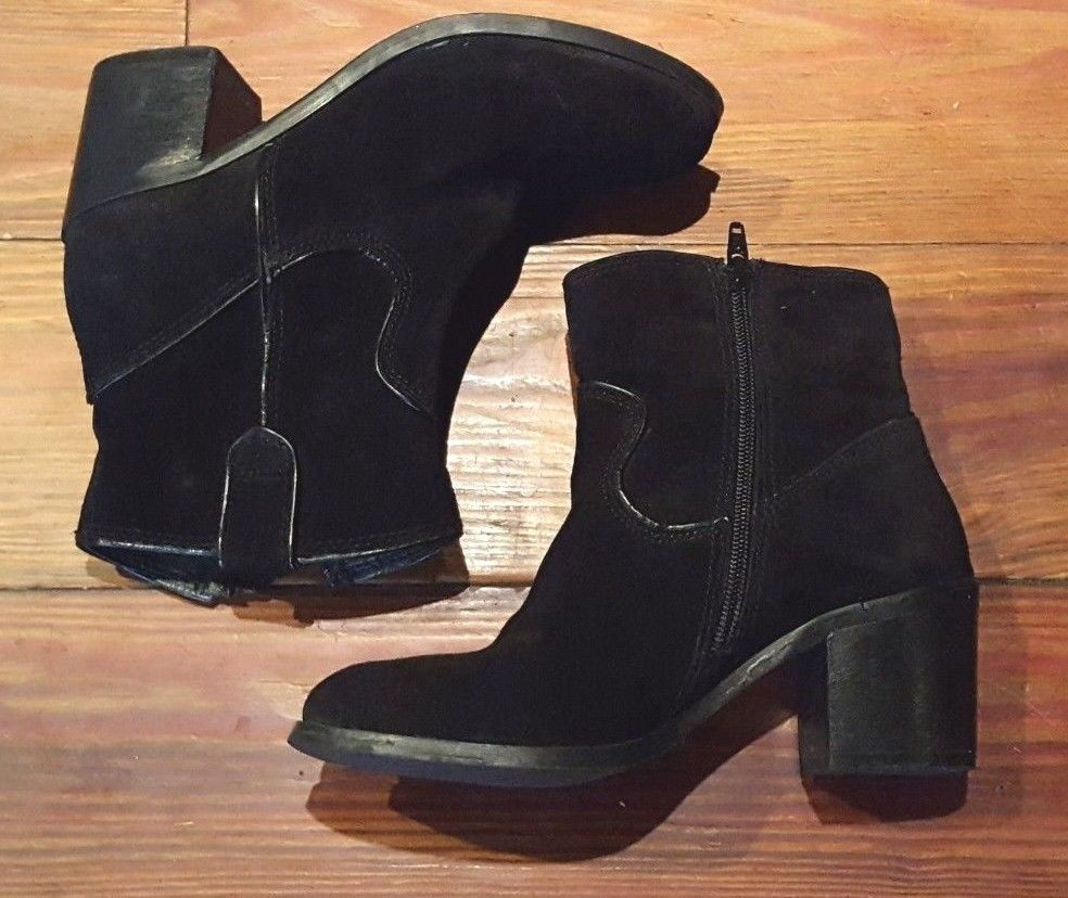 2e67301bd47d Steve Madden Women s Black Leather Suede Booties Size 6  fashion  clothing   shoes  accessories  womensshoes  boots (ebay link)