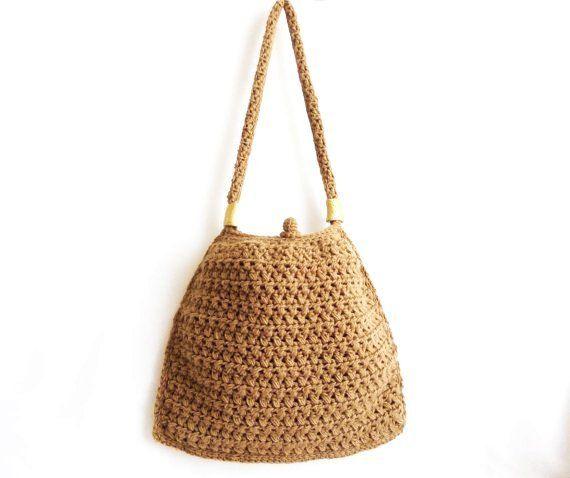 Karamel tığ Tote bag El tığ handbag- Unique handbag- Faydalı handbag- Pouch- Şık handbag- OOAK