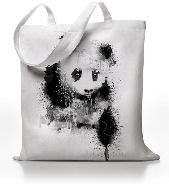 Mixed-Media Artwork eines Pandas handgedruckt auf einem Jutebeutel!  - Handbedruckt - Lange Henkel (Ideal über der Schulter zu tragen) - 100% B...
