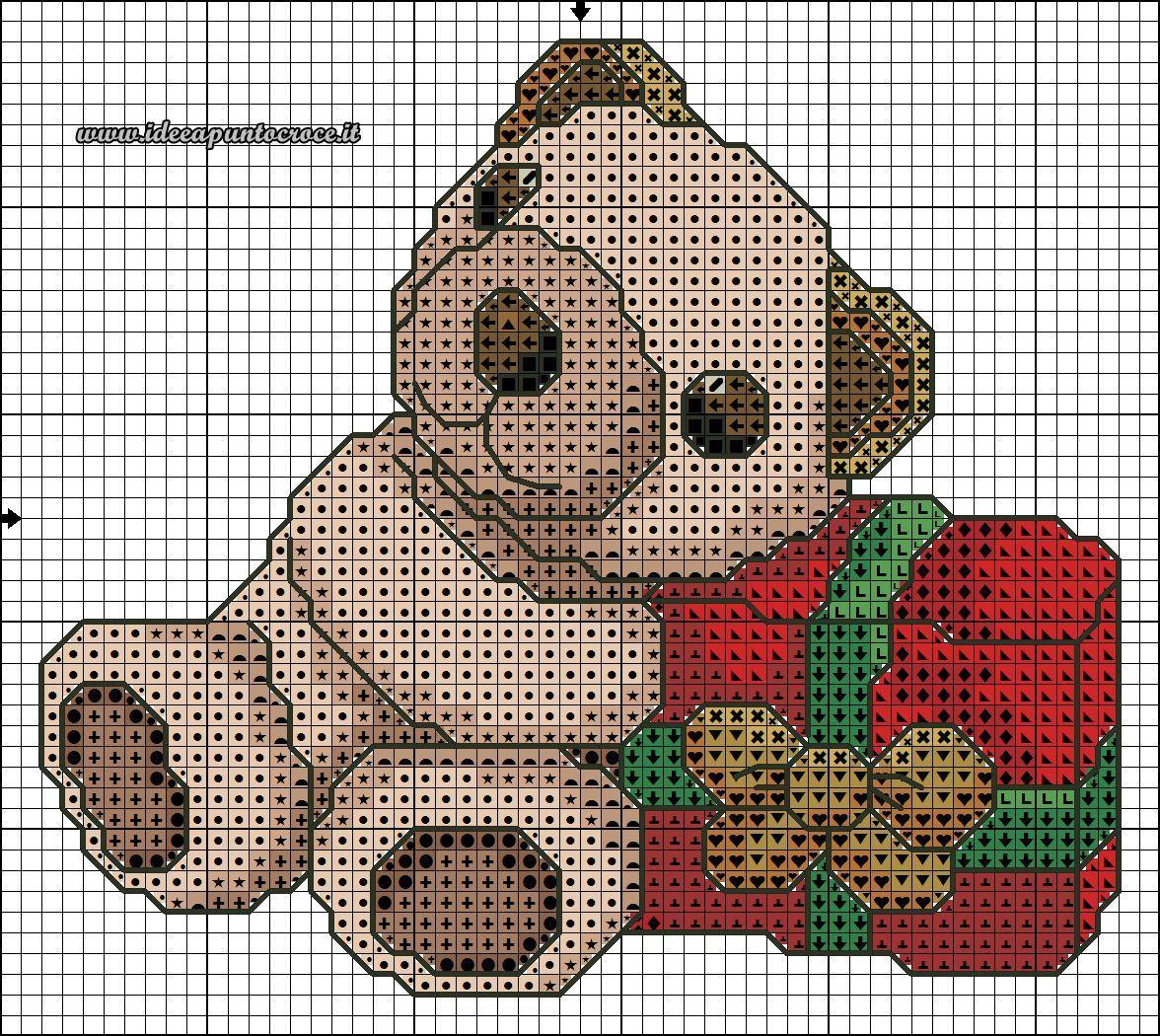 schema punto croce orsetto thun natalizio christmas