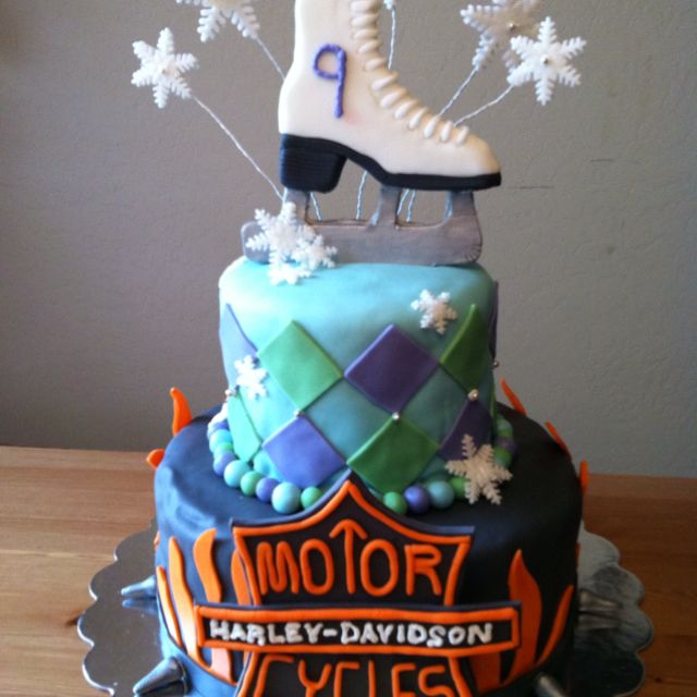 A dual birthday cake for a 9 year old girl that loves ice skating