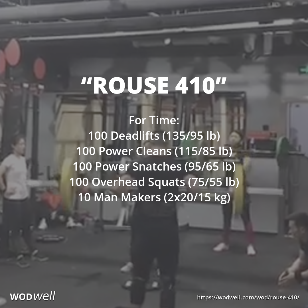 Rouse 410 Workout Functional Fitness Wod Wodwell Wod Workout Crossfit Workouts At Home Crossfit Workouts