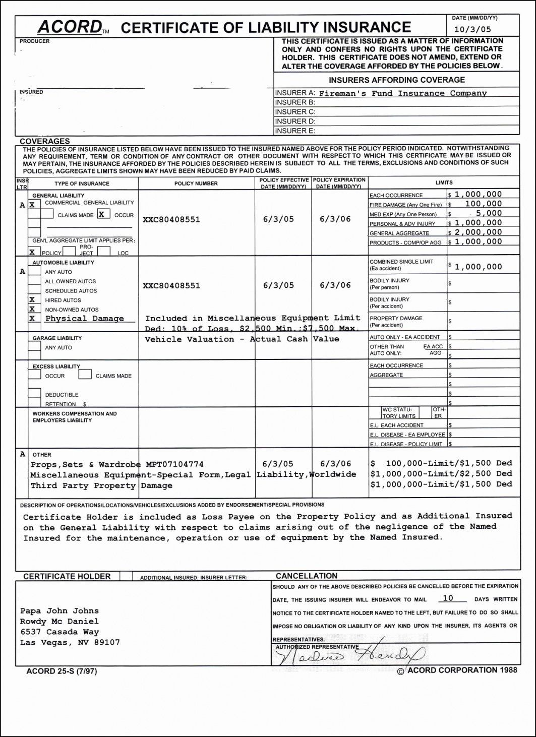 Certificate Of Liability Insurance Form 2019 Acord Acord ...