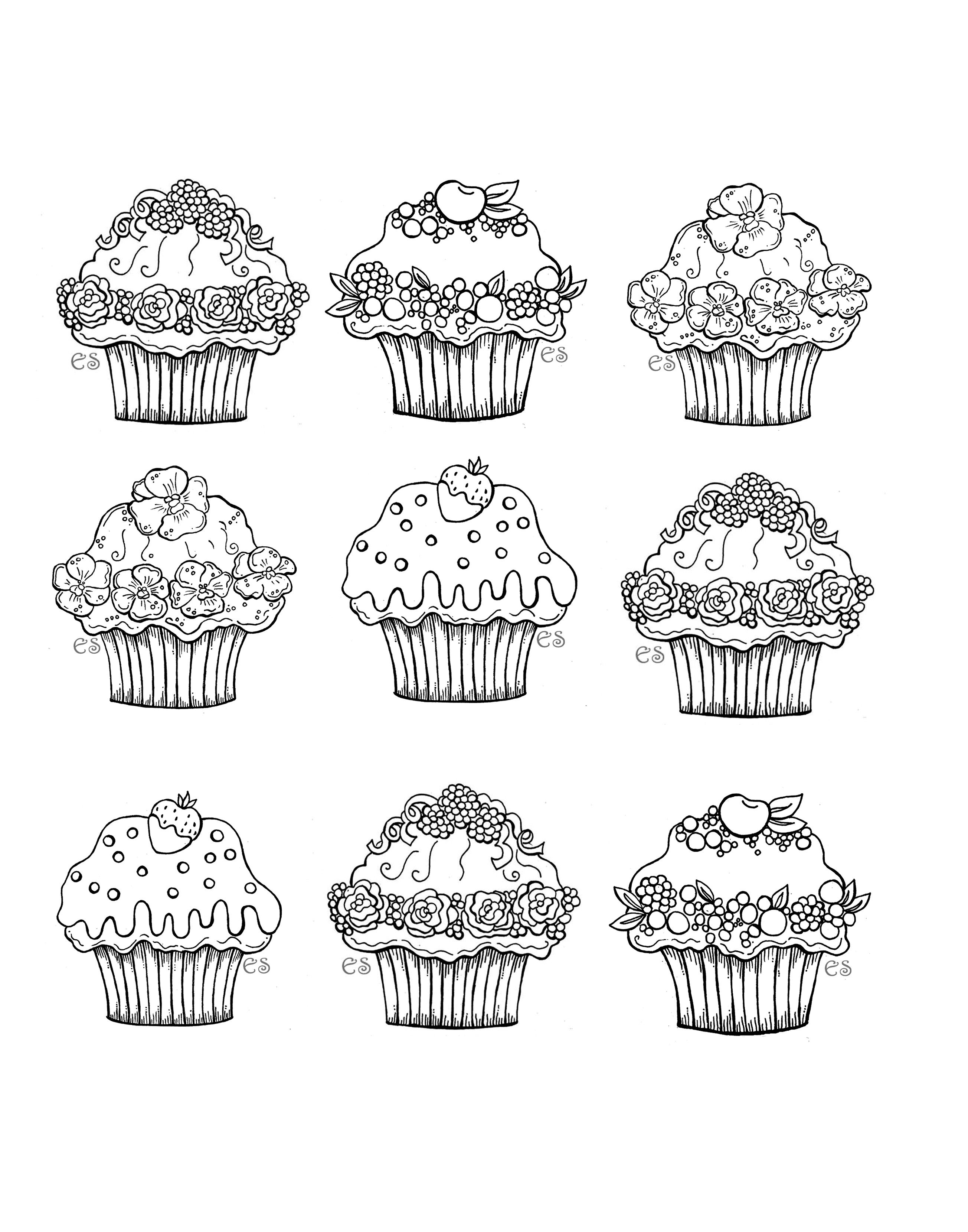 Six Cute Cupcakes Cupcakes And Cakes Coloring Pages For Adults