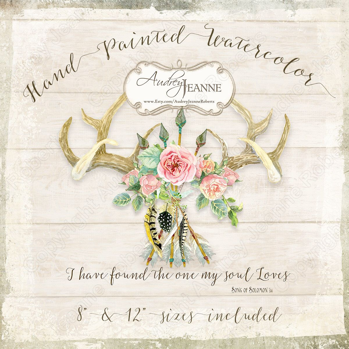 Watercolor Boho Deer Antlers, Rose Floral, Digital Clip Art Clipart, Bohemian Wedding Printable, Wall Art or Sign, Pillow Transfer Image by AudreyJeanneRoberts on Etsy https://www.etsy.com/listing/474470379/watercolor-boho-deer-antlers-rose-floral