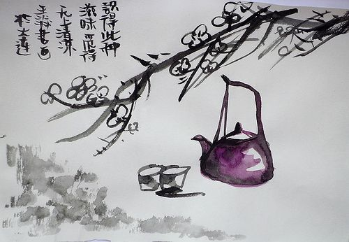 Exquisite Chinese Watercolor Painting of Teapot and Tea Cups | Japanese calligraphy art, Ink wash painting, Chinese painting