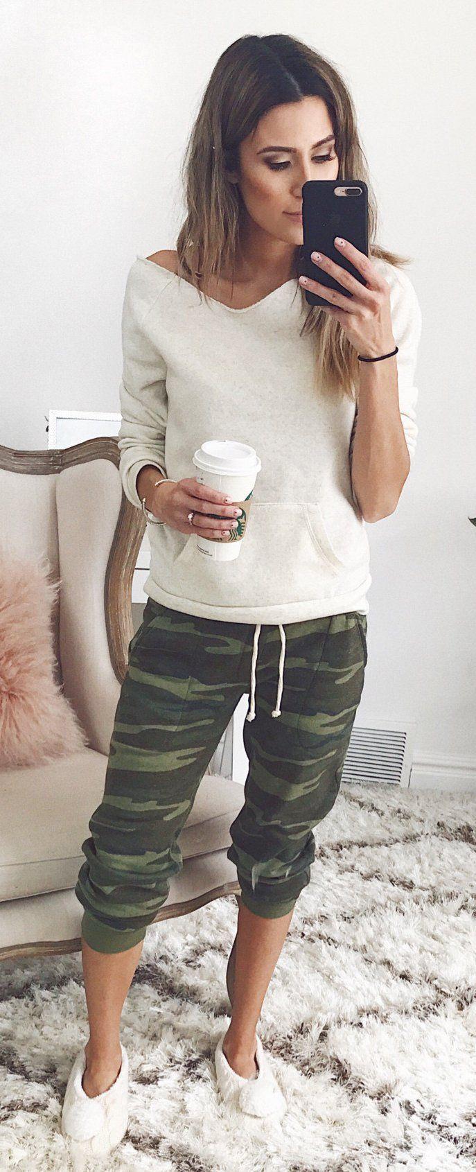 White Knit & Army Cropped Pants