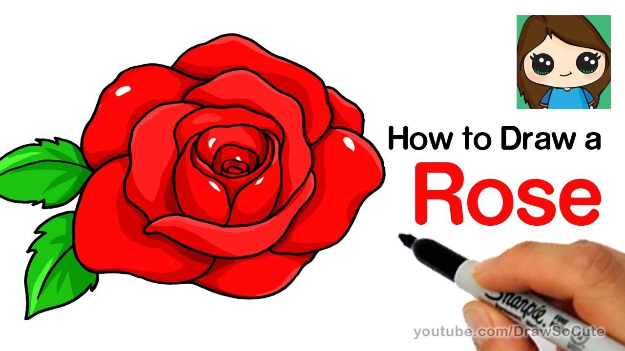 How To Draw A Rose Step By Step Easy Rose Step By Step Flower Drawing Simple Flower Drawing