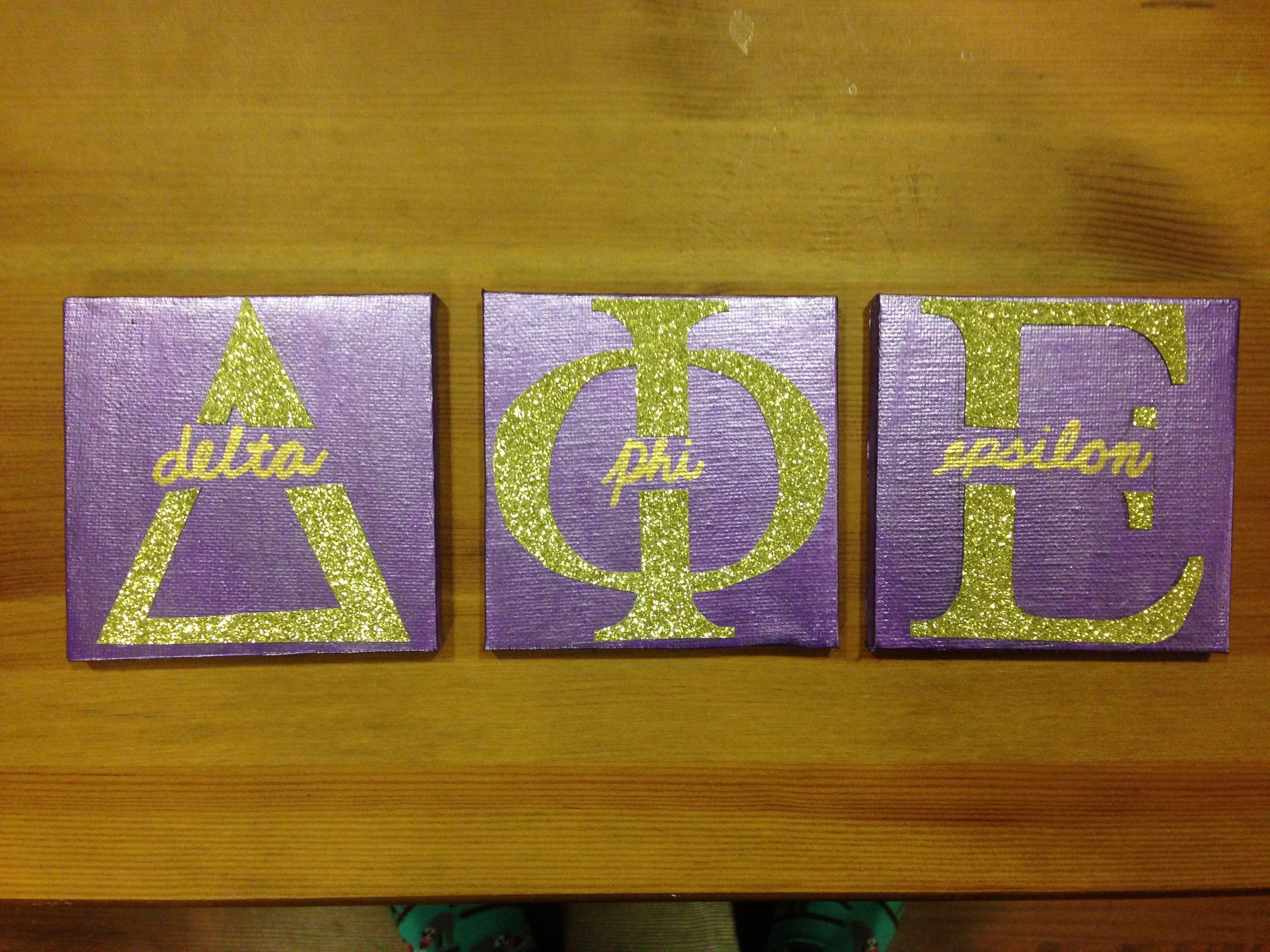 Big, Little, Dphie, Delta, Phi, Epsilon, Sorority, Craft, Canvas, Glitter, Gold, Letters