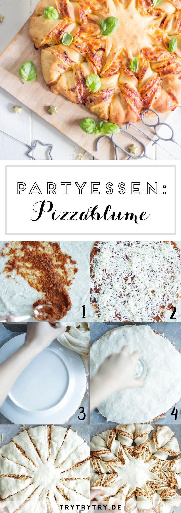pizzablume rezept partyessen silvester fingerfood und pizza