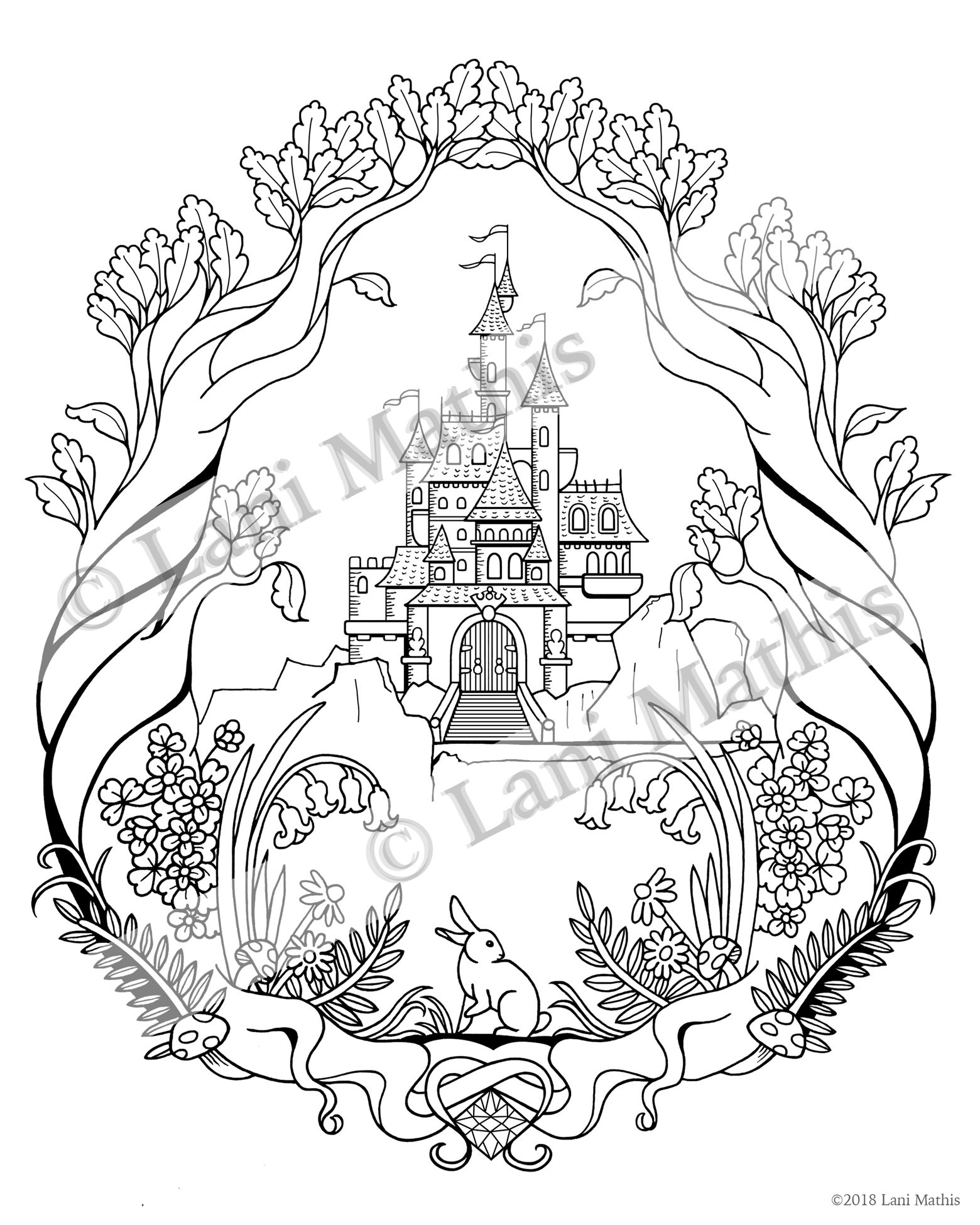 Castle In The Woods Download And Print Adult Coloring Page