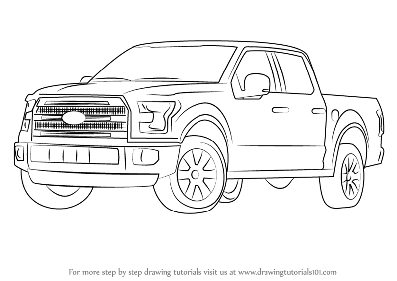 How to Draw Ford F-150 Truck step by step, learn drawing