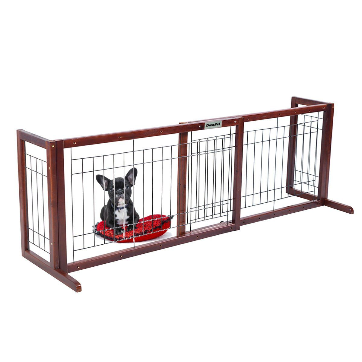 Dazzpet free standing pet gates extra wide indoor small