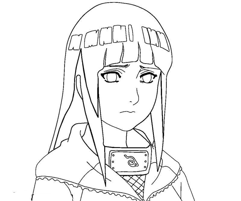Hinata With An Anxious Face Coloring Pages For Kids Printable Naruto