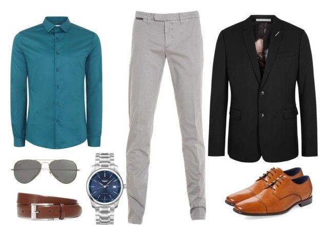 Camisa Azul petroleo Pantalón gris