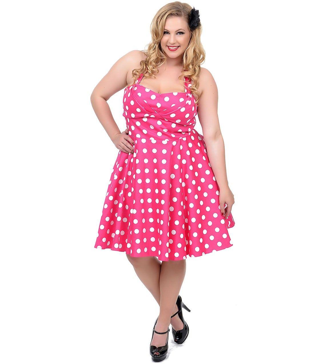Plus Size Pink White Polka Dot Halter Fit N Flare Dress Rosemary