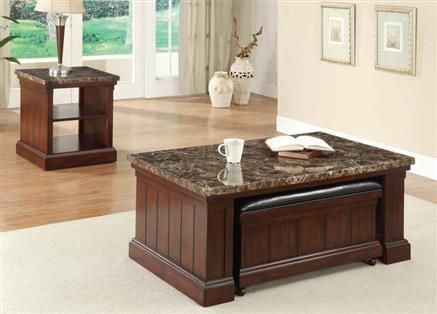 Rodrik Dark Brown Cherry Wood Marble Coffee Table W Storage Bench With Images Marble Cocktail Table Coffee Table Marble End Tables