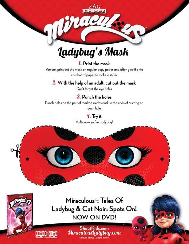 Miraculous: Tales Of Ladybug U0026 Cat Noir Printable Masks Activity