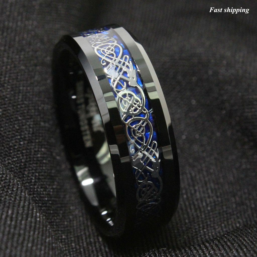 Dramatic Celtic Black Dragon Tungsten Ring Deep Blue Inlay Mens
