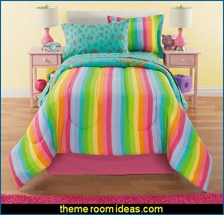 Rainbow Comforter Set Twin, Unicorn Reversible Bedding, Beautiful Allover  Flowers And Floral Pattern, Vibrant Rainbows With Clouds | Lena Pokój |  Pinterest ...