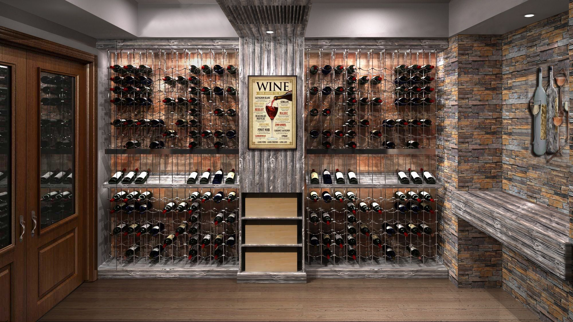 Rustic Modern Custom Wine Cellar Featuring The Cable Wine