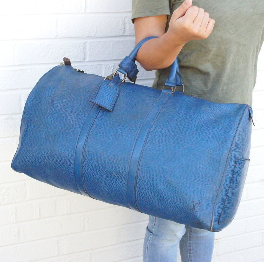 Vintage LV boston bag! Authentic LOUIS VUITTON Epi KEEPALL 50 Blue Travel Bag  LV Boston Men UNISEX Lock  LouisVuitton  DuffleBag edec78c8a6bda