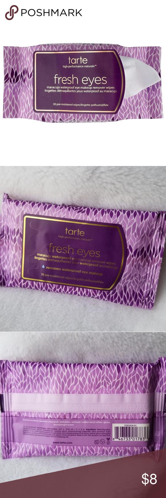 Nwt tarte fresh eyes maracuja makeup remover wipes nwt