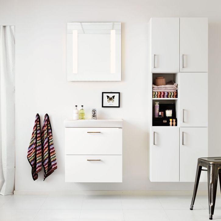 Badrum inspiration -  Badrum billigt & prisvärt - Smartie vit 60 med låda och högskåp