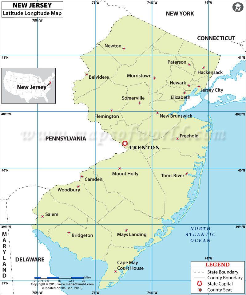 New Jersey Latitude And Longitude Map Th Grade SS Pinterest - Mapa de new jersey