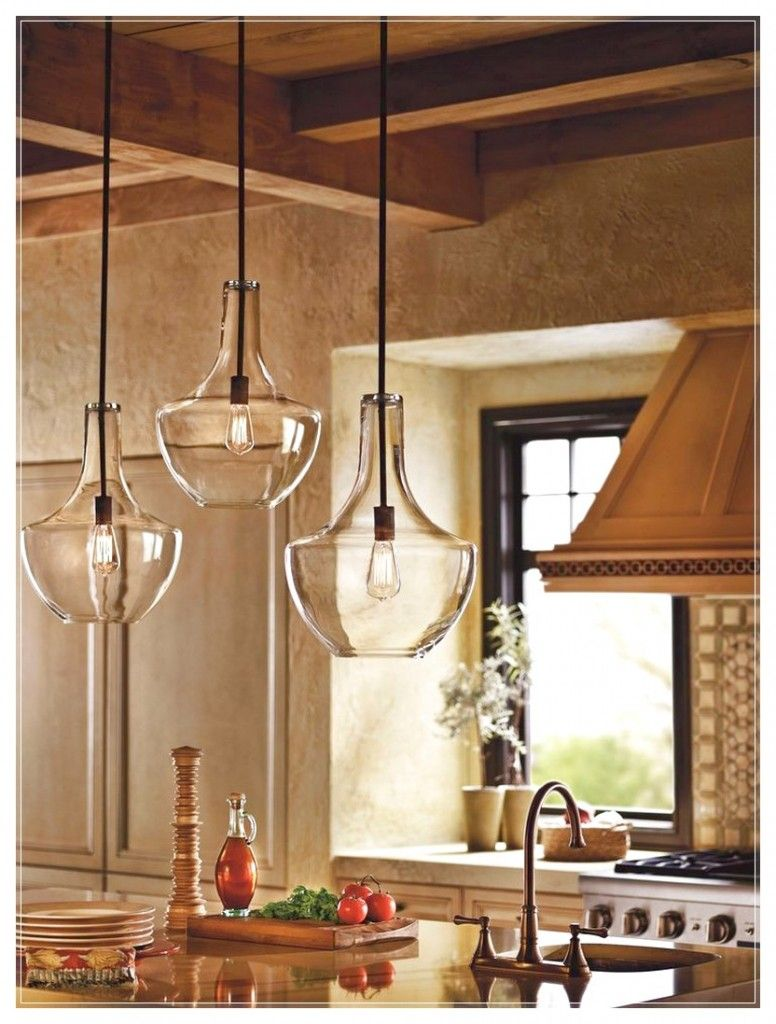 Kitchen pendant lighting with three glass lamp with a unique shape