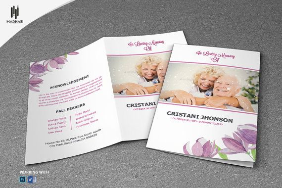 Printable Funeral Program Template Elegant By Madhabistudio
