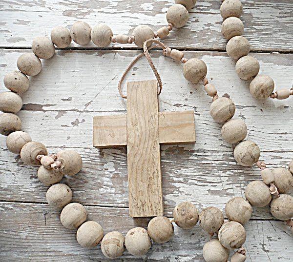 ♥ cross ♥  beads ♥ wood ♥