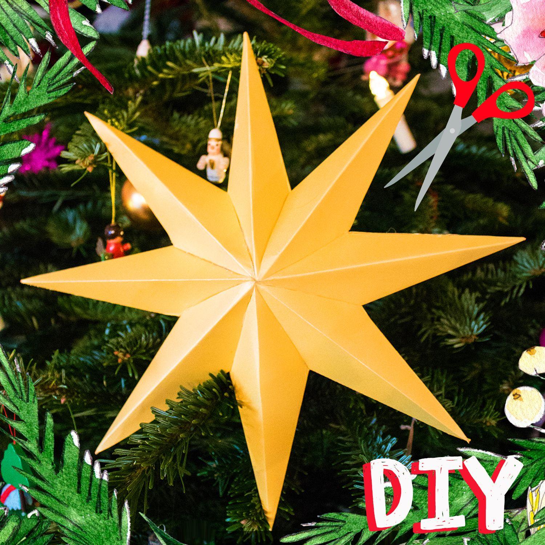 DIY - 3D-Stern basteln für Weihnachten mit Vorlage zum ausdrucken  #3dsterneauspapier