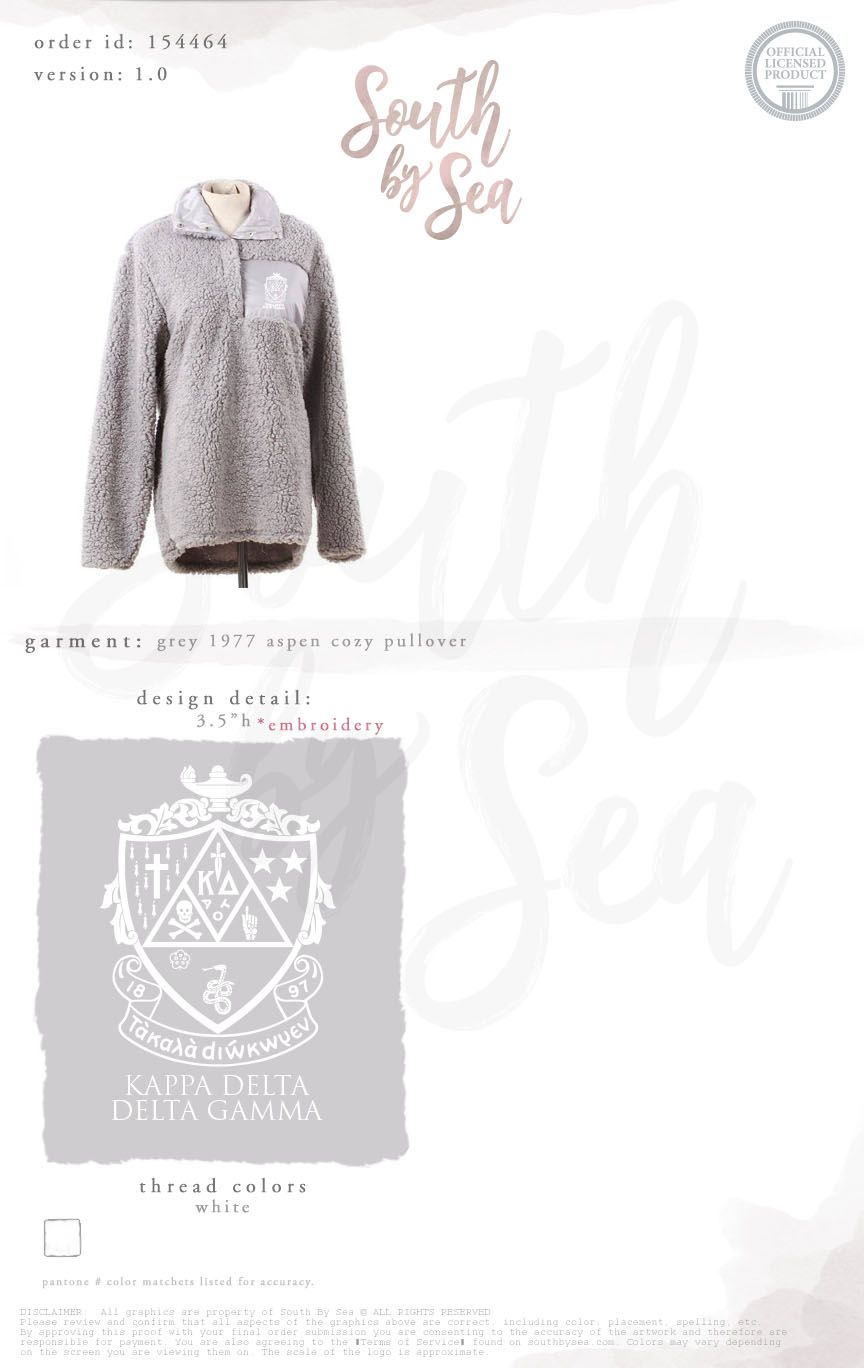 Kappa Delta | KD | Embroidered Crest Design | Aspen Cozy Pullover | Sorority  Outerwear | South by Sea | Greek Tee Shirts | Greek Tank Tops | Custom  Apparel ...
