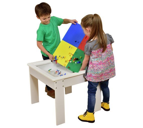 buy children s wooden play table with construction block top at