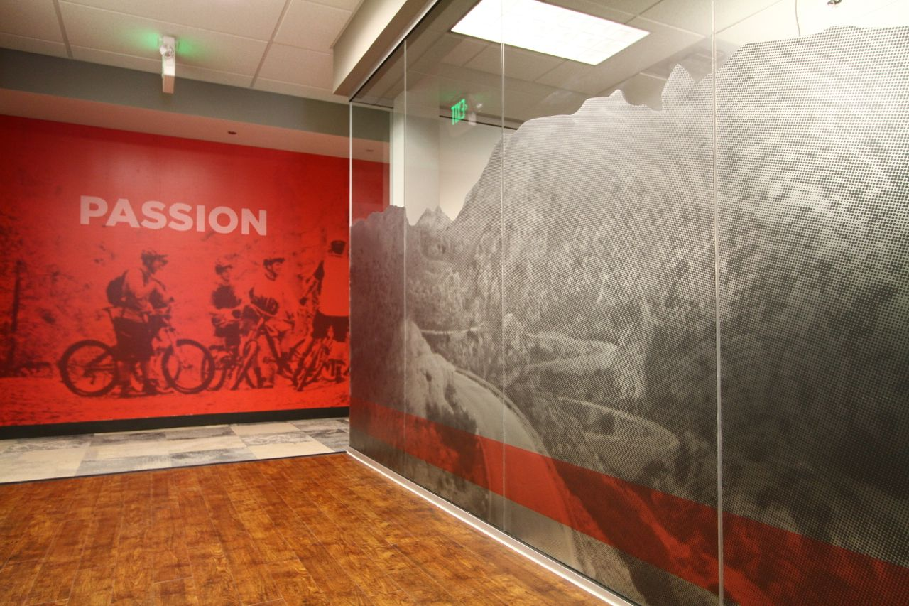 Color printing colorado springs -  Frosted Finished Look For Bhawkins Sram Headquarters In Colorado Springs Co Printed On Clear Window Vinyl And Applied Matte Laminate For Frosted Finish
