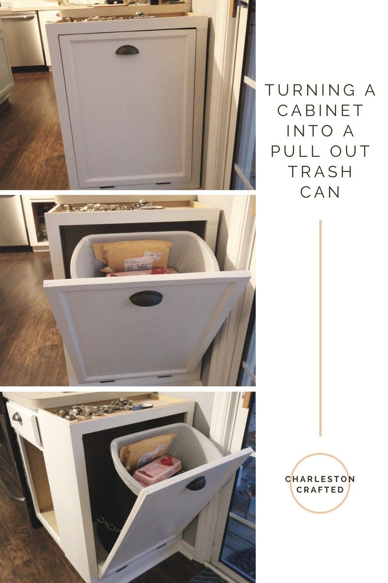 Turning A Cabinet Into A Pull Out Trash Can Trash Can Cabinet